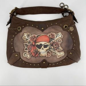 Isabella Fiore Brown Leather Pirate Hobo Bag